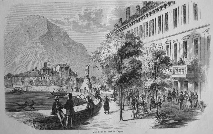 Lugano 1858 Hotel du parc incisione