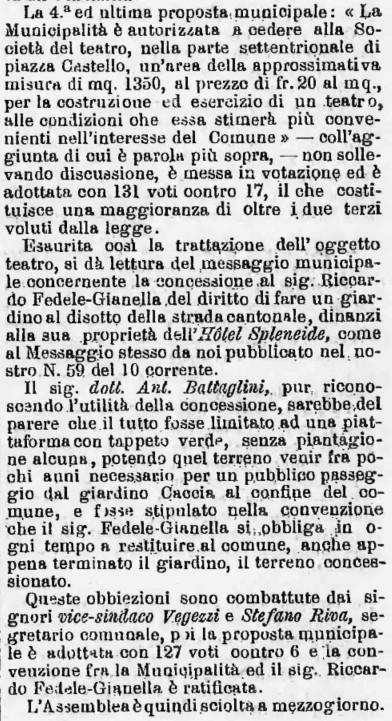 1888 Gazzetta Ticinese accordo giardino Splendide