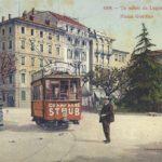 Lugano Piazza giardino con Tram