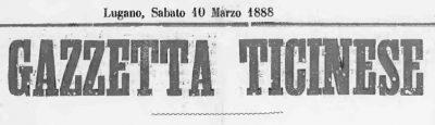 Titolo Gazzetta Ticinese 3 Marzo 1888